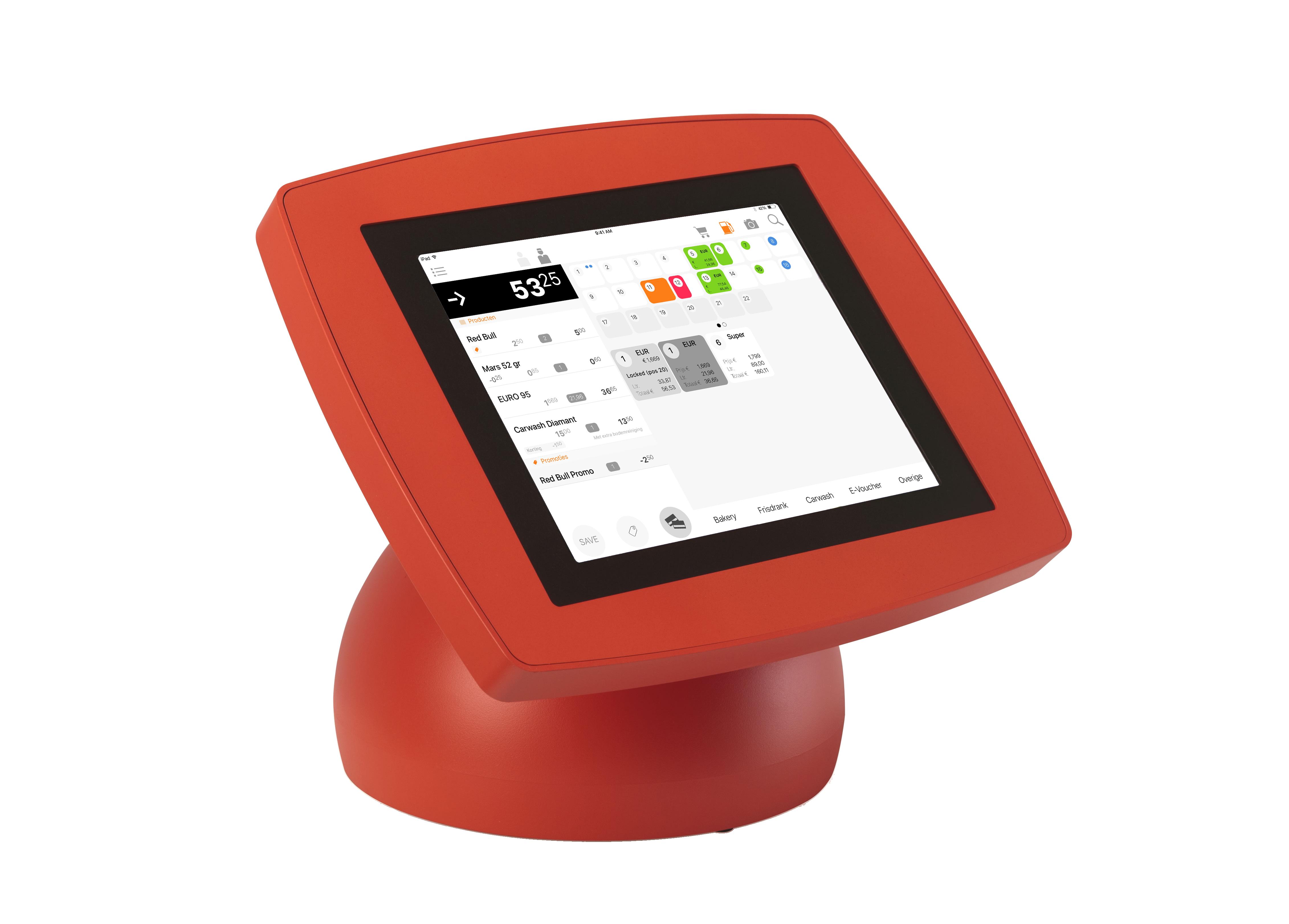 iPad kassa voor petrol in rode houder