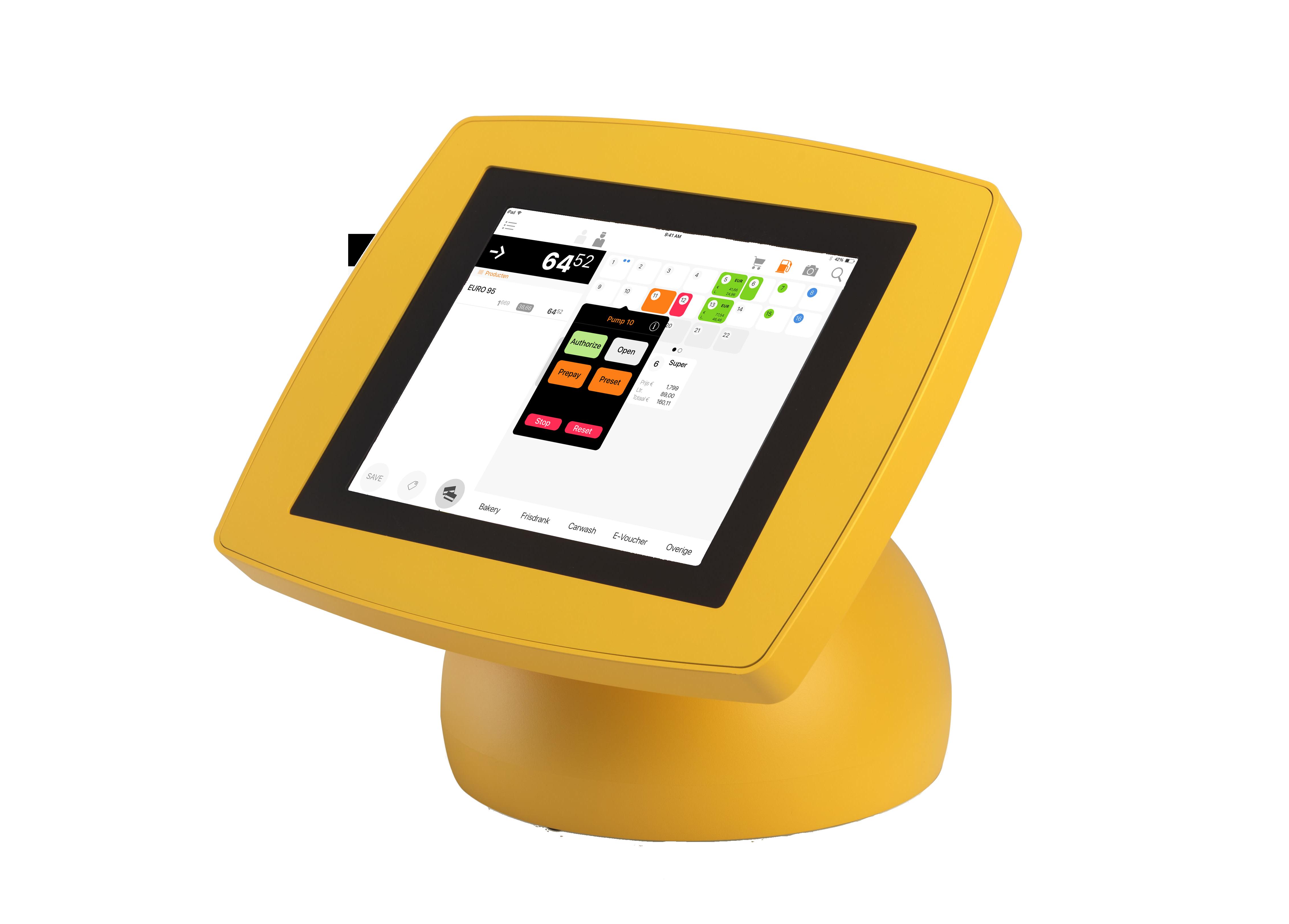 iPad kassa voor petrol in gele houder