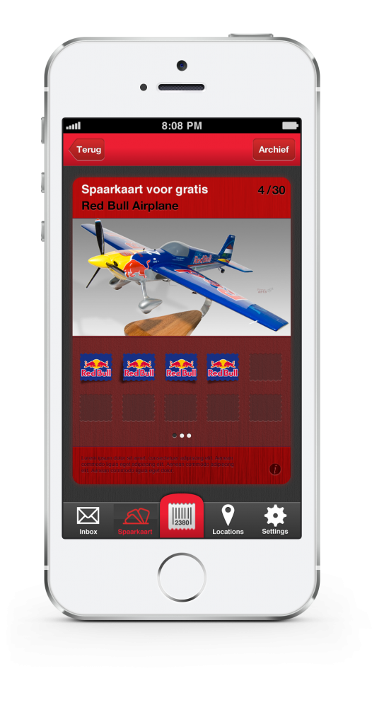 screenshot van de Extendas Loyalty app