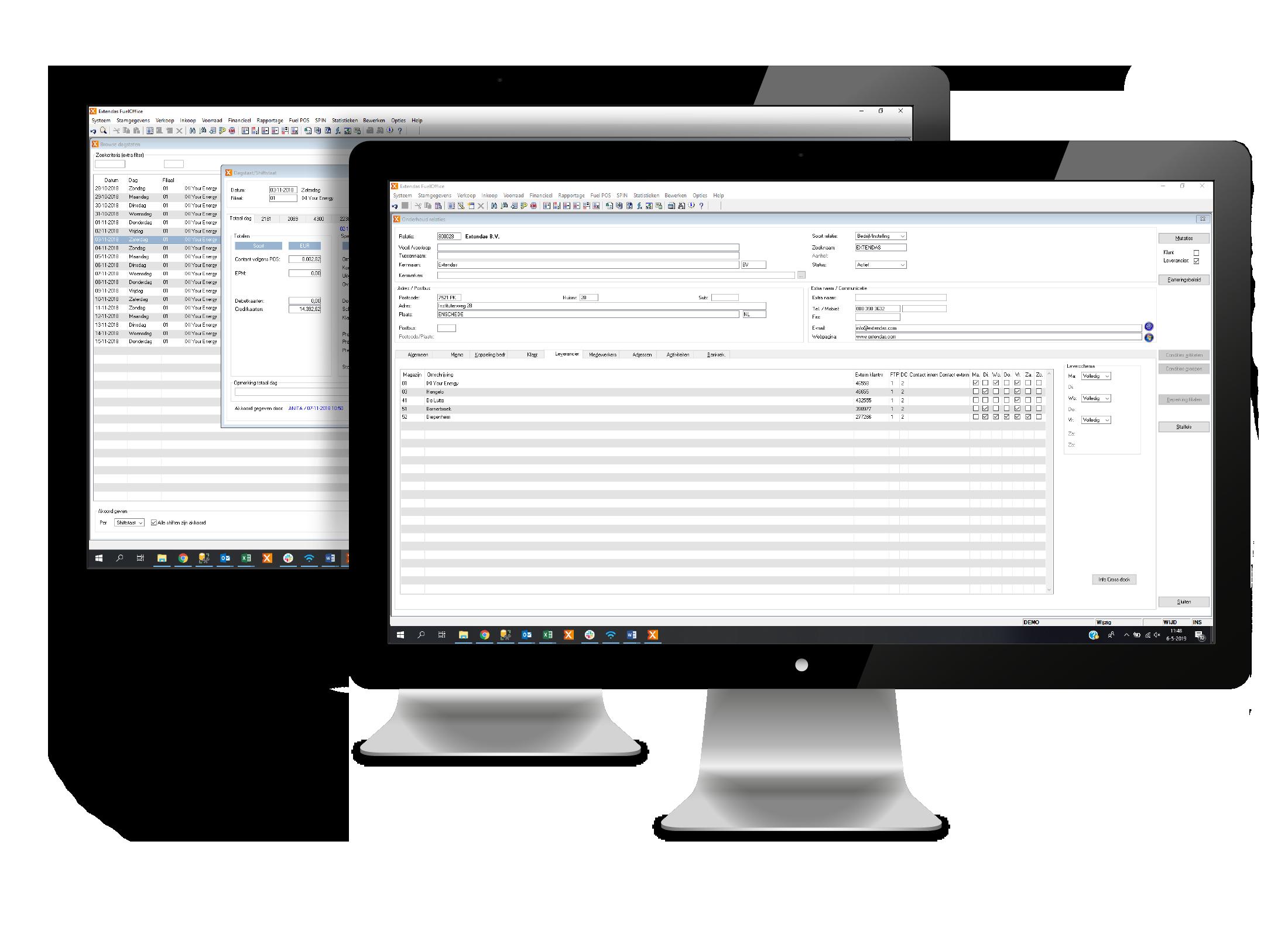 Dagstaten en relatiebeheer scherm in FuelOffice