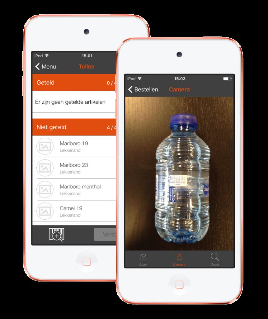 2 iPod touch toestellen met screenshots van Extendas HTapp