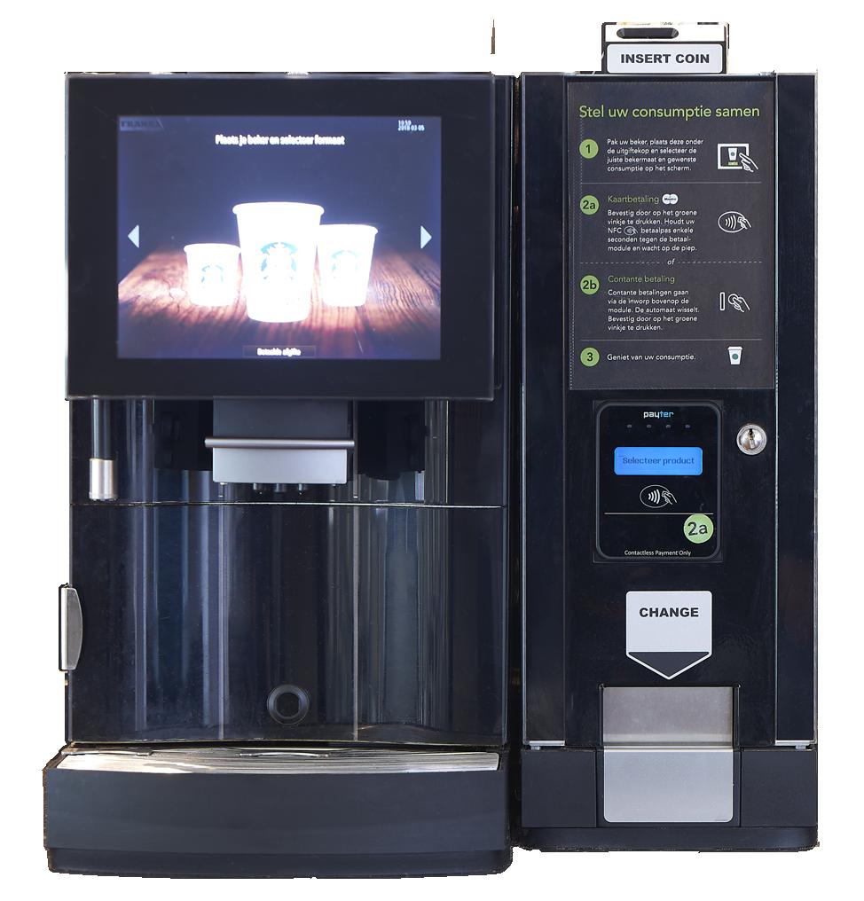 Koffiemachine in tankstation shop met contactloos betaaloptie